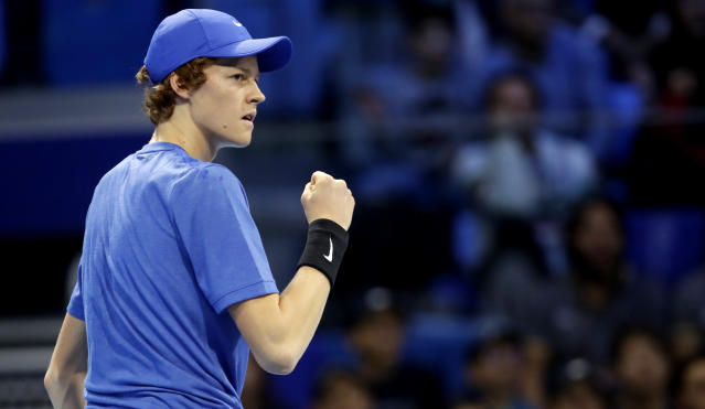 Jannik Sinner of Italy celebrates a winning point during the ATP Next Gen tennis tournament final match against Alex De Minaur of Australia, in Milan, Italy, Saturday, Nov. 9, 2019. (AP Photo/Luca Bruno)