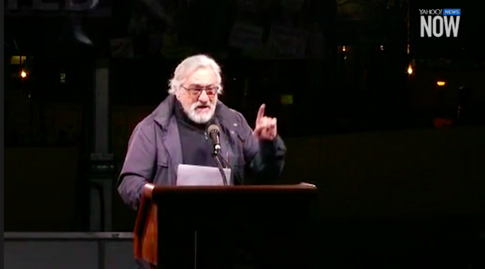 Actor Robert de Niro speaks to thousands of protesters at a pre-inauguration rally against Donald Trump in New York City on Thursday, Jan. 19, 2017. (Screenshot via Yahoo News)