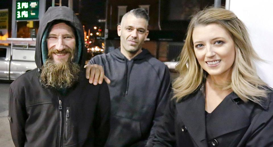 Johnny Bobbitt stands with his would-be benefactors <span>Kate McClure and Mark D'Amico before their GoFundMe campaign turned into a saga of greed and deceit. (Photo: NBC News)</span>