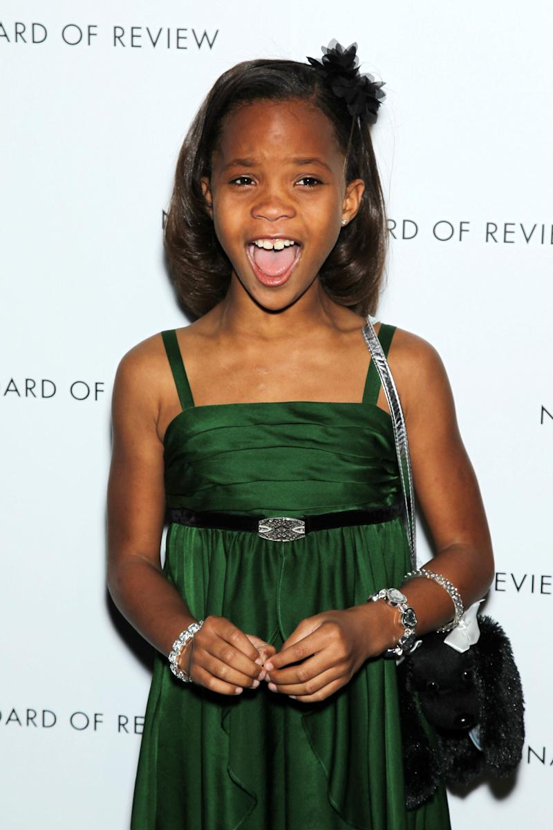 "This Jan. 8, 2013 photo released by Starpix shows actress Quvenzhane Wallis at the National Board of Review awards gala in New York. Wallis was nominated for an Academy Award on Thursday, Jan. 10, 2013, for best actress for the film, ""Beasts of the Southern Wild"".  The 85th Academy Awards will air live on Sunday, Feb. 24, 2013 on ABC. (AP Photo/Starpix, Marion Curtis)"