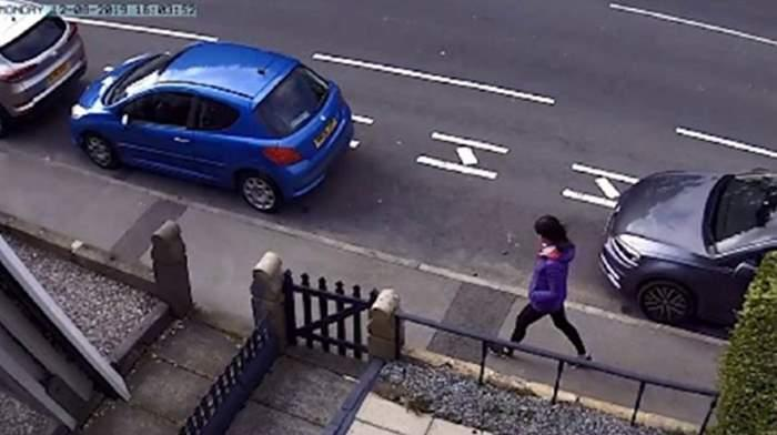 Pictured is Lindsay Birbeck on CCTV moments after leaving her home in Lancashire on the day she was killed.