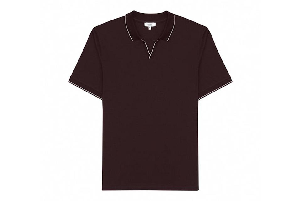 """$125, Reiss. <a href=""""https://www.reiss.com/us/p/open-collar-polo-shirt-mens-tom-in-bordeaux-red/?category_id=12691&hInd=5"""" rel=""""nofollow noopener"""" target=""""_blank"""" data-ylk=""""slk:Get it now!"""" class=""""link rapid-noclick-resp"""">Get it now!</a>"""