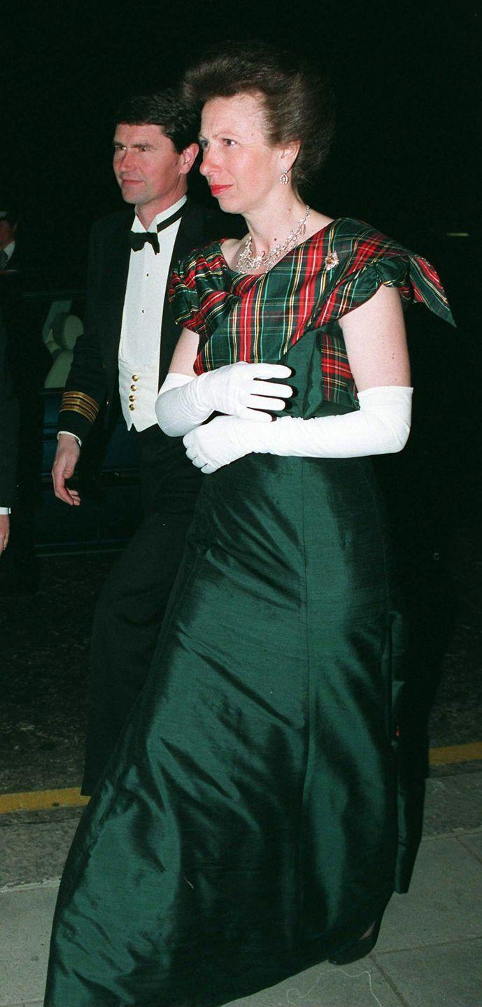 <p>In 1995, Anne wore this festive gown with plaid detailing to theRoyal Caledonian Ball at the Grosvenor House Hotel in London.</p>