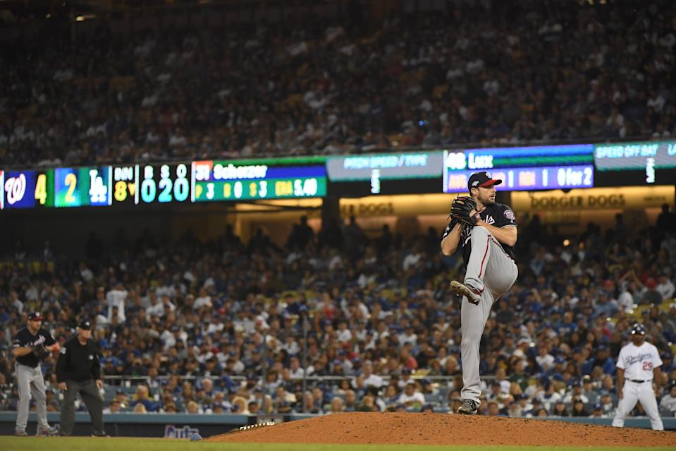 LOS ANGELES, CALIFORNIA - OCTOBER 04: Max Scherzer #31 of the Washington Nationals pitches in relief in the eighth inning in game two of the National League Division Series against the Los Angeles Dodgers at Dodger Stadium on October 04, 2019 in Los Angeles, California. (Photo by Harry How/Getty Images)