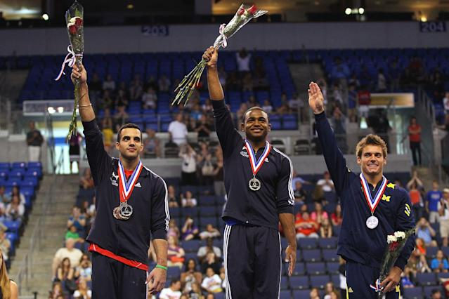 ST. LOUIS, MO - JUNE 9: (L-R) Silver medalist Danell Leyva, gold medalist John Orozco and bronze medalist Sam Mikulak acknowledge the crowd after receiving their medals in the Senior Men's competition on Day Three of the Visa Championships at Chaifetz Arena on June 9, 2012 in St. Louis, Missouri. (Photo by Dilip Vishwanat/Getty Images)