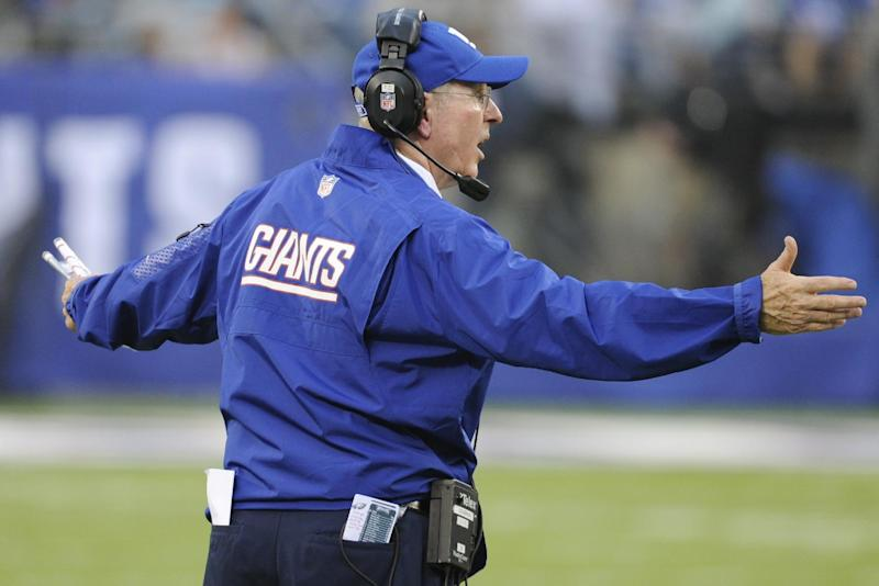 New York Giants head coach Tom Coughlin reacts during the second half of an NFL football game against the Philadelphia Eagles, Sunday, Oct. 6, 2013, in East Rutherford, N.J. (AP Photo/Bill Kostroun)