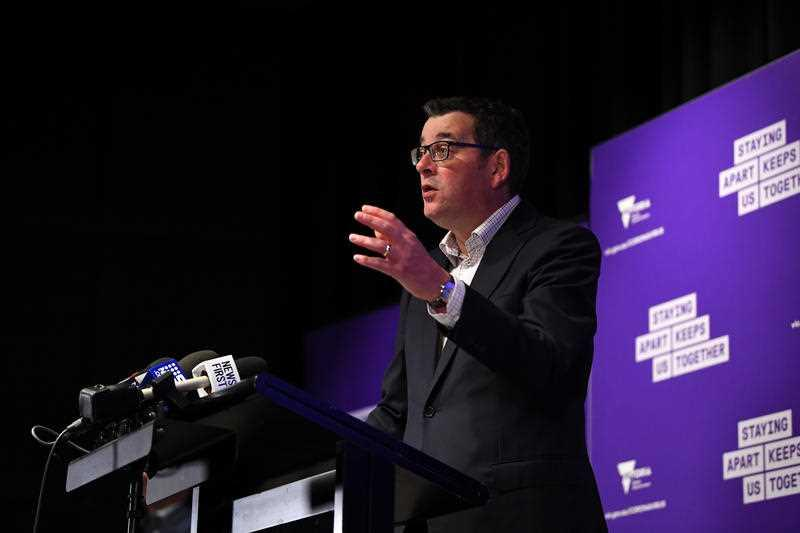 Victorian Premier Daniel Andrews speaks to media in Melbourne.