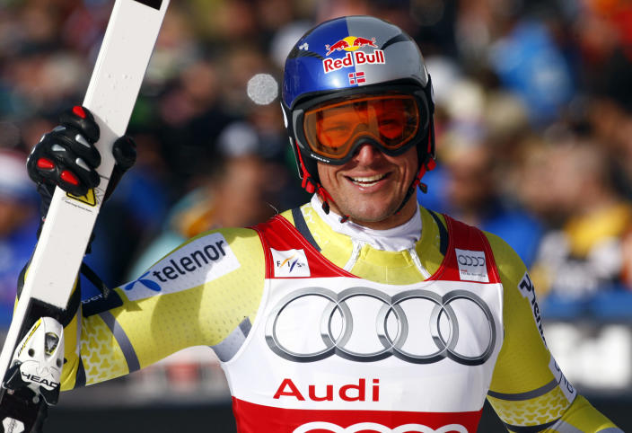 Norway's Aksel Luns Svindal reacts in the finish area after his run at the men's World Cup downhill ski race in Beaver Creek, Colo., on Friday, Nov. 30, 2012. (AP Photo/Alessandro Trovati)