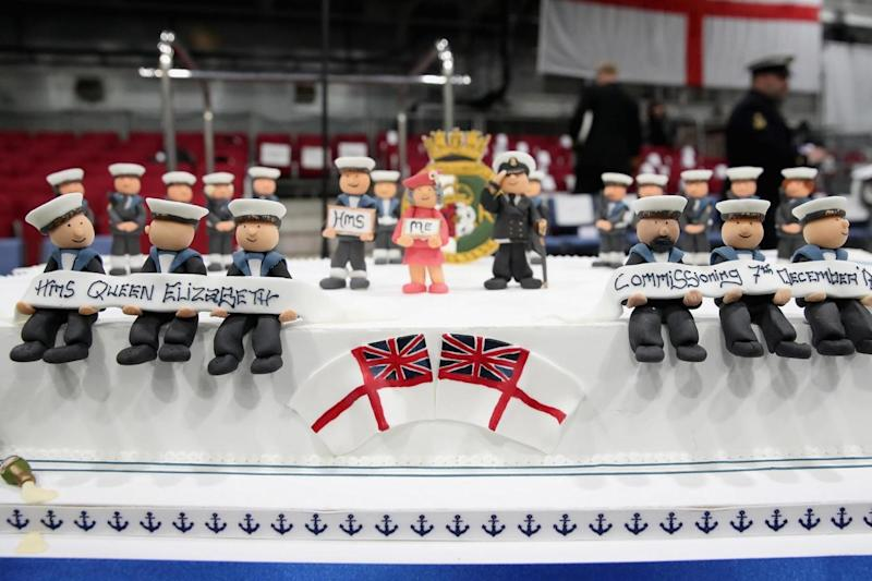 A cake made to mark the warship's commissioning ceremony (Getty Images)