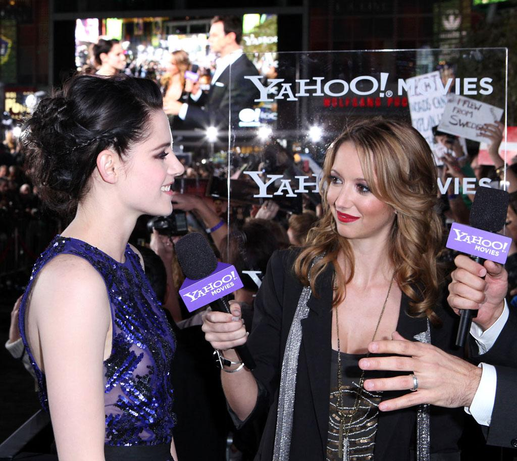 "<p class=""MsoNoSpacing"">Kristen Stewart is interviewed by Yahoo! Movies at the red carpet premiere for ""The Twilight Saga: Breaking Dawn – Part 1"" in Los Angeles, CA. (Photo by Nelson Blanton/Yahoo!)</p>"