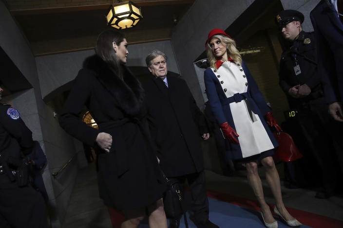 <p>Donald Trump's White House Director of Strategic Communications Hope Hicks, Senior Counselor Steve Bannon and Counselor to the President Kellyanne Conway arrive for the presidential inauguration on the West Front of the U.S. Capitol on January 20, 2017 in Washington. (Photo: Win McNamee/Getty Images) </p>