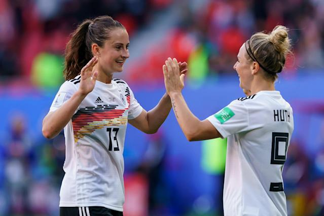 Sara Dabritz (13), Svenja Huth and Germany haven't been impressive, but they have been victorious. (Getty)