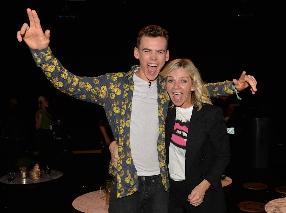 Finalist Woody Cook with his mother, Zoe Ball, following the live final of the second series of Channel 4's The Circle, in Salford, Manchester.