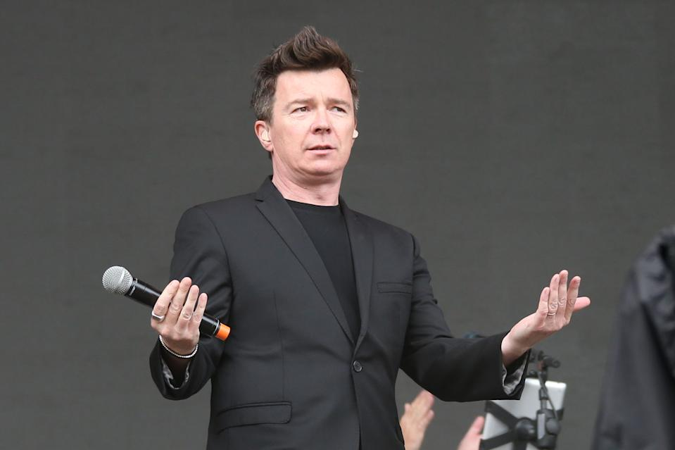 Rick Astley performs on the MTV stage as part of the V Festival at Hylands Parks, Chelmsford, Saturday, Aug 20, 2016. (Joel Ryan/Invision/Ap)