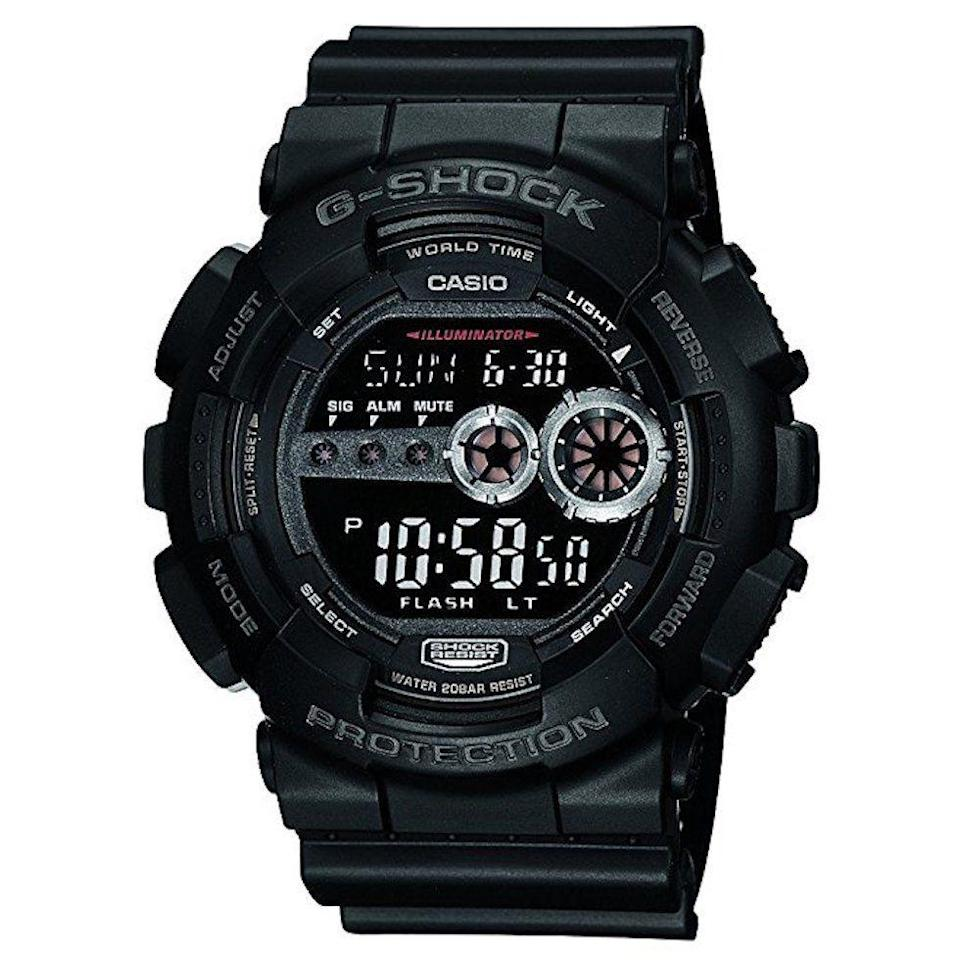 """<p><strong>Casio</strong></p><p>amazon.com</p><p><strong>$79.97</strong></p><p><a href=""""https://www.amazon.com/dp/B0049HSJ76?tag=syn-yahoo-20&ascsubtag=%5Bartid%7C2139.g.19520579%5Bsrc%7Cyahoo-us"""" rel=""""nofollow noopener"""" target=""""_blank"""" data-ylk=""""slk:BUY IT HERE"""" class=""""link rapid-noclick-resp"""">BUY IT HERE</a></p><p>This watch was built to withstand anything, and we mean anything. It's shock resistant and water resistant (up to 200M), and the auto LED backlight allows you to check the time even in the pitch black. Dad can even use this to set up multiple different alarms, so he'll never sleep in or arrive late again. </p>"""