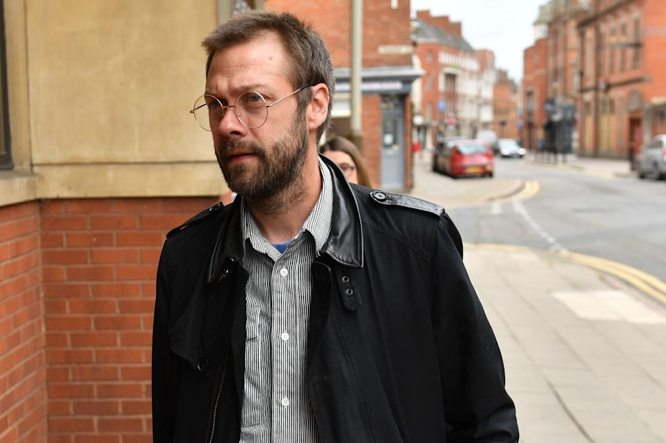 RETRANSMITTING CORRECTING SPELLING OF LEICESTER CORRECT CAPTION BELOW Ex-Kasabian singer, Tom Meighan, arrives at Leicester Magistrates' Court where he is appearing on a domestic assault charge. (Photo by Jacob King/PA Images via Getty Images)