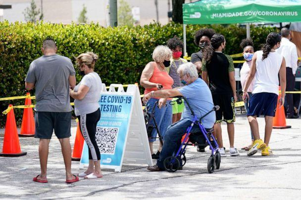 PHOTO: People wait in line at a Miami-Dade County COVID-19 testing site, Monday, July 26, 2021, in Hialeah, Fla. (Lynne Sladky/AP)