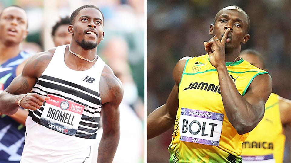 Usain Bolt (pictured right) has picked Trayvon Bromell (pictured left) as his tip for the 100m at the Tokyo Olympic Games. (Getty Images)