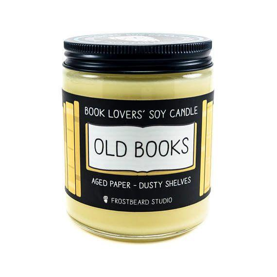"Scented like old books, with hints of aged paper and dusty shelves. <a href=""https://www.etsy.com/listing/159184877/old-books-8-oz-book-lovers-soy-candle?ga_order=most_relevant&ga_search_type=all&ga_view_type=gallery&ga_search_query=book%20lovers&ref=sr_gallery_3"" target=""_blank"">Get it here</a>."