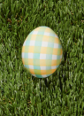 "<p>Everyone will be praising your creativity if you can pull off this country-chic egg. The secret? It's simple! Using watercolors and a flat-tipped bristle brush, simply paint horizontal stripes on a white egg. Once dry, paint vertical stripes in a complementary color.</p><p><a class=""link rapid-noclick-resp"" href=""https://www.amazon.com/Watercolor-Palette-Bonus-Paper-GenCrafts/dp/B07QQ39F7J?tag=syn-yahoo-20&ascsubtag=%5Bartid%7C10050.g.1282%5Bsrc%7Cyahoo-us"" rel=""nofollow noopener"" target=""_blank"" data-ylk=""slk:SHOP WATERCOLORS"">SHOP WATERCOLORS</a></p>"