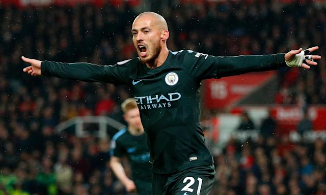 David Silva celebrates giving Manchester City the lead against Stoke City.
