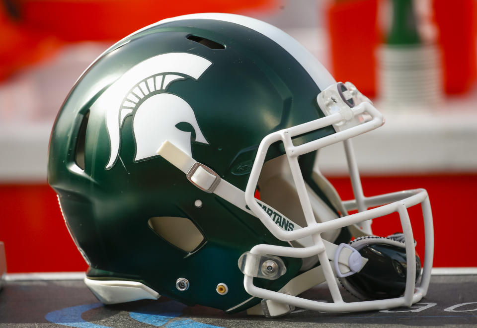 CHAMPAIGN, IL - NOVEMBER 05: A Michigan State Spartans helmet is seen during the game against the Illinois Fighting Illini at Memorial Stadium on November 5, 2016 in Champaign, Illinois. (Photo by Michael Hickey/Getty Images)
