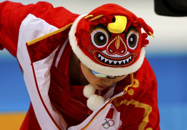 China's Zhao Jing prepares to swim in the the women's 100m backstroke final at the London 2012 Olympic Games at the Aquatics Centre July 30, 2012. REUTERS/Michael Dalder (BRITAIN - Tags: SPORT SWIMMING OLYMPICS TPX IMAGES OF THE DAY)