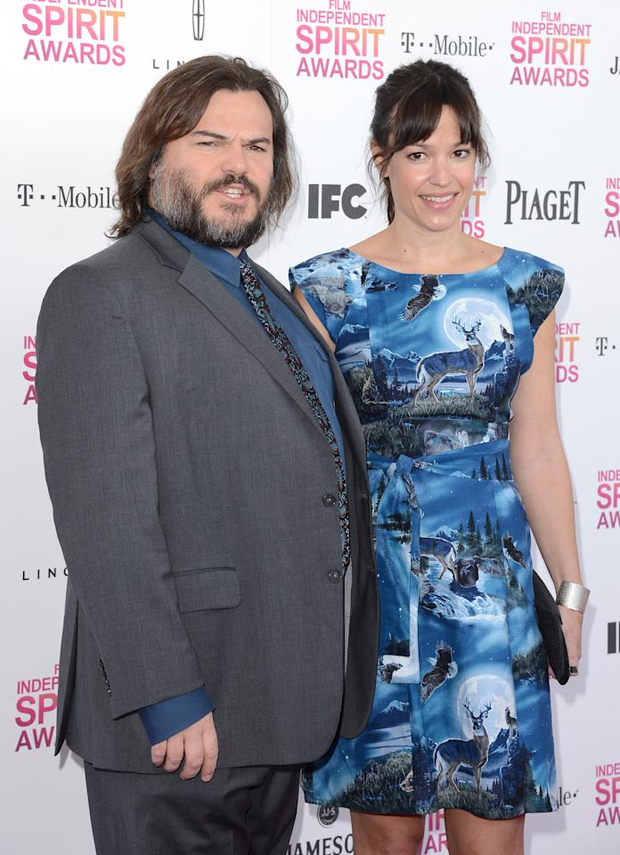 SANTA MONICA, CA - FEBRUARY 23: (L-R) Actor Jack Black and musician Tanya Haden attend the 2013 Film Independent Spirit Awards at Santa Monica Beach on February 23, 2013 in Santa Monica, California.  (Photo by Jason Merritt/Getty Images)