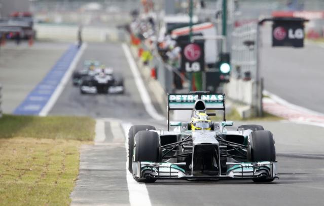 Mercedes Formula One driver Nico Rosberg of Germany drives during the qualifying session for the Korean F1 Grand Prix at the Korea International Circuit in Yeongam, October 5, 2013. REUTERS/Lee Jae-Won (SOUTH KOREA - Tags: SPORT MOTORSPORT F1)