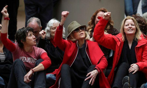PHOTO: Actress Jane Fonda participates in a 'Fire Drill Fridays' climate change sit-in protest before being arrested with other activists inside the Hart Senate Office Building on Capitol Hill in Washington, Nov. 1, 2019. (Siphiwe Sibeko/Reuters)