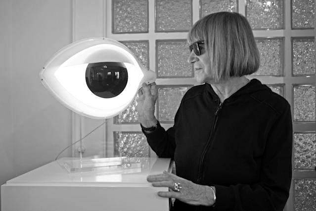 "Nicola L. with ""Eye Table Lamp.""  (SculptureCenter)"