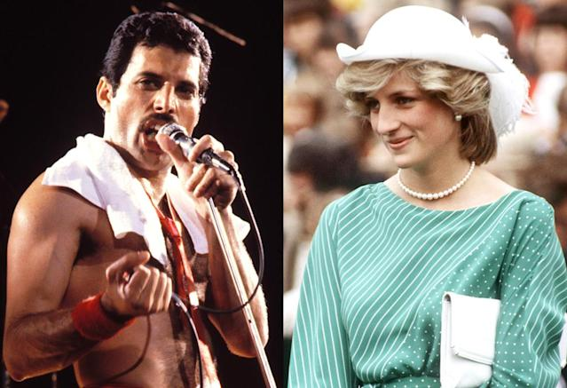 "<p>The Queen singer and the royal were both part of an amazing evening in the late '80s, when — get this — Diana disguised herself in a military jacket, a hat, and sunglasses on <a href=""https://www.yahoo.com/celebrity/blogs/celeb-news/princess-diana-freddie-mercury-walk-bar-235322951.html"" data-ylk=""slk:an outing to a gay bar"" class=""link rapid-noclick-resp"">an outing to a gay bar</a> in a London. As British comedian Cleo Rocos wrote in her 2013 memoir, The Power of Positive Drinking, the three of them were convinced their ""male model"" companion would be outed as Diana, but she wasn't. Mercury and Diana were ""giggling"" and acting like ""naughty schoolchildren,"" Rocos recalled. (Photo: Getty Images) </p>"
