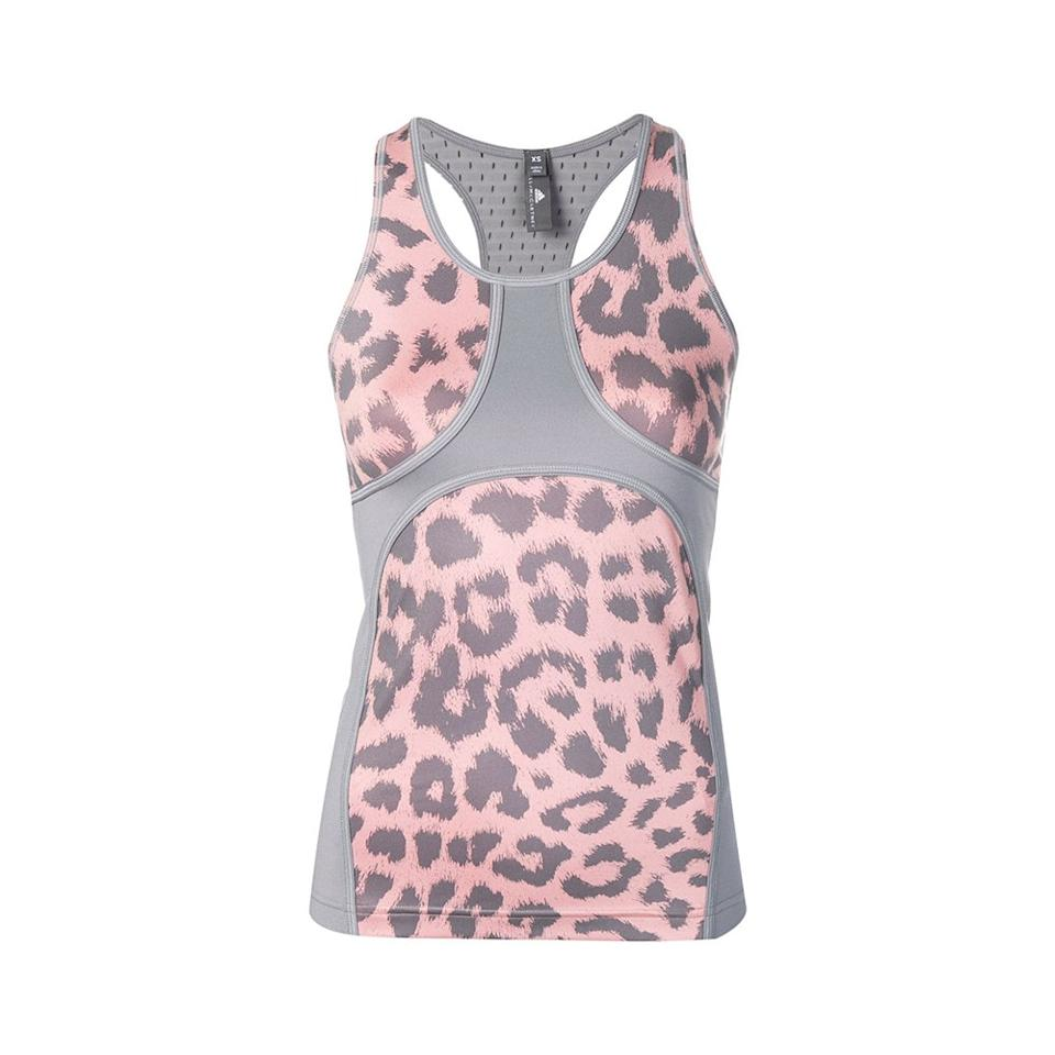 """<p>This leopard-print workout top is the perfect intersection of fashion and performance, featuring breathable fabric and a tailored fit.</p> <p><strong>Buy it:</strong> $80 (originally $115), <a href=""""https://www.farfetch.com/shopping/women/adidas-by-stella-mccartney-printed-tank-top-item-13695838.aspx?storeid=10573"""" rel=""""nofollow"""">farfetch.com</a></p>"""