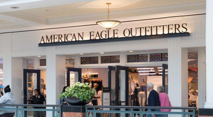 An image of an America Eagle (AEO) store in a mall.