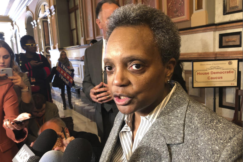 FILE - In this Nov. 12, 2019 file photo, Chicago Mayor Lori Lightfoot talks to reporters after meeting with House Democrats at the state Capitol, in Springfield, Ill. Even though Illinois lawmakers have finally approved a Chicago casino, the city faces major obstacles before anyone can place any bets. One of the biggest issues is trying to make it more profitable. Lawmakers adjourned their veto session this month without addressing the issue. Mayor Lightfoot says they'll try again in January.(AP Photo/John O'Connor File)