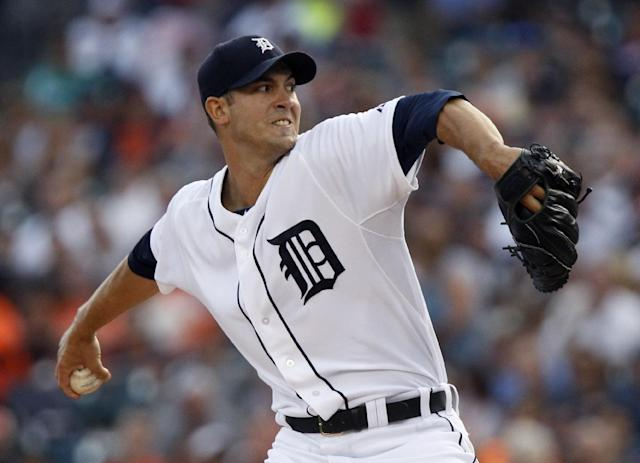 Detroit Tigers starter Rick Porcello pitches against the Cleveland Indians in the first inning of a baseball game on Friday, Aug. 30, 2013, in Detroit. (AP Photo/Duane Burleson)