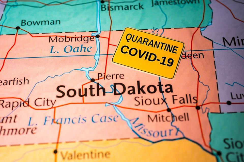 map shows south Dakota with COVID-19 label