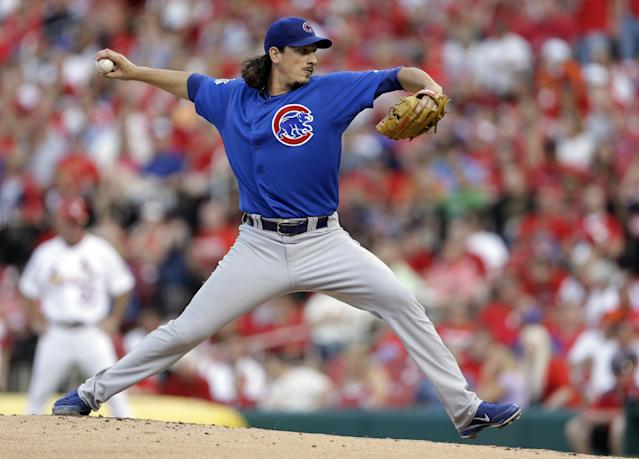 Chicago Cubs starting pitcher Jeff Samardzija throws during the first inning of a baseball game against the St. Louis Cardinals on Tuesday, June 18, 2013, in St. Louis. (AP Photo/Jeff Roberson)