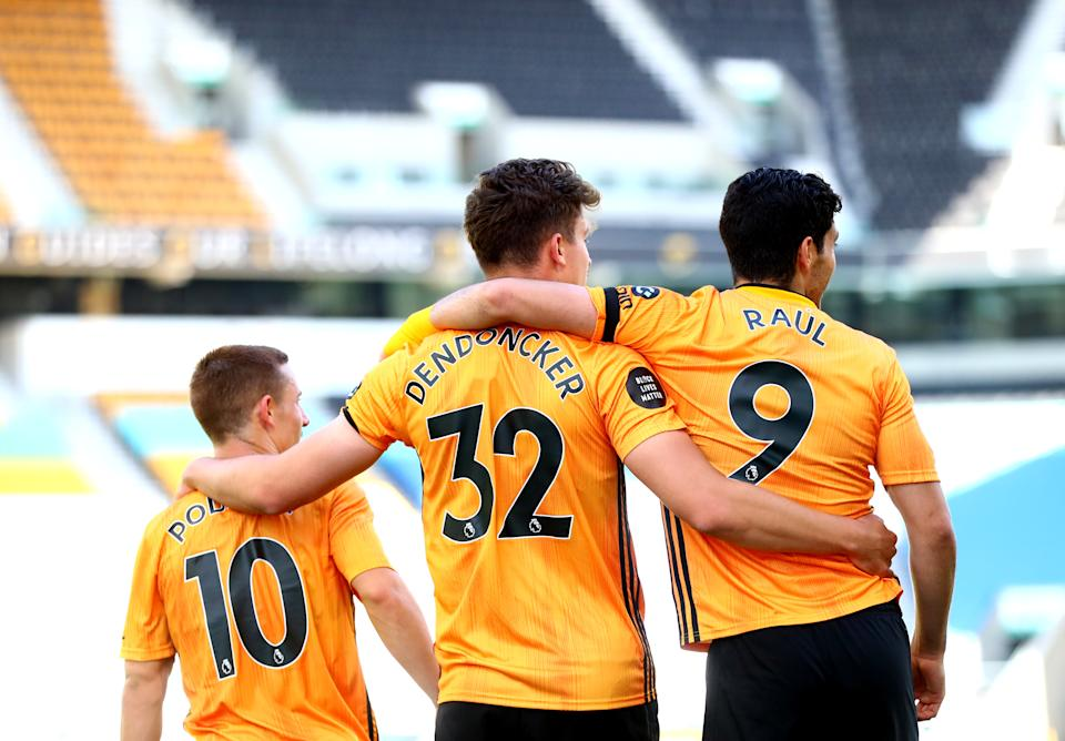 WOLVERHAMPTON, ENGLAND - JULY 12: Leander Dendoncker of Wolverhampton Wanderers  celebrates scoring his teams second goal during the Premier League match between Wolverhampton Wanderers and Everton FC at Molineux on July 12, 2020 in Wolverhampton, England. Football Stadiums around Europe remain empty due to the Coronavirus Pandemic as Government social distancing laws prohibit fans inside venues resulting in all fixtures being played behind closed doors. (Photo by Chloe Knott - Danehouse/Getty Images)