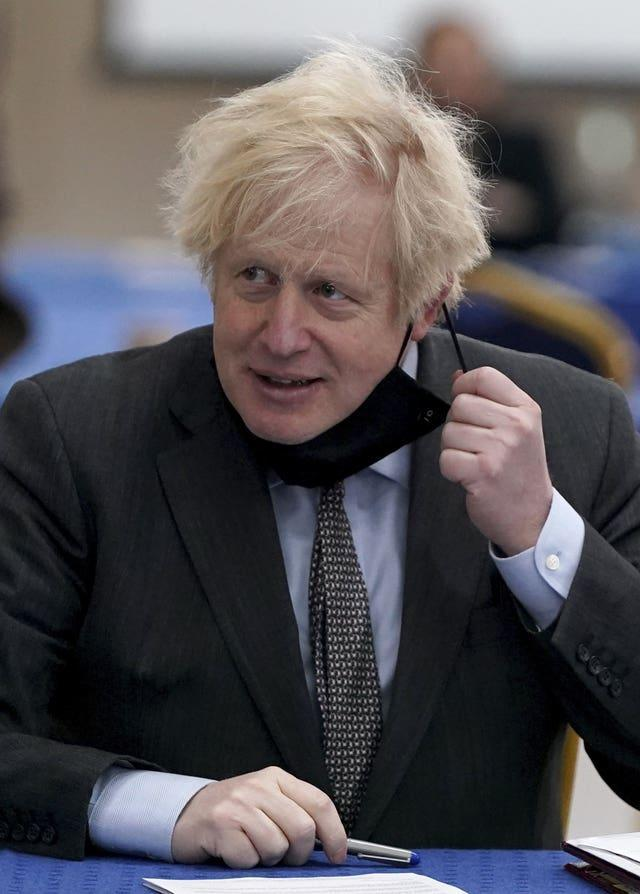 Prime Minister Boris Johnson during a visit to a coronavirus vaccination centre in Batley, West Yorkshire