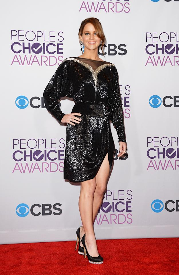 LOS ANGELES, CA - JANUARY 09:  Actress Jennifer Lawrence, winner of Favorite Movie Actress, poses in the press room at the 39th Annual People's Choice Awards at Nokia Theatre L.A. Live on January 9, 2013 in Los Angeles, California.  (Photo by Jason Merritt/Getty Images)
