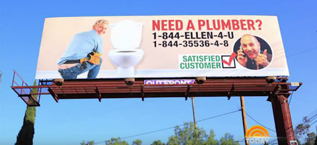 A billboard prank Matt Lauer played on Ellen DeGeneres, shown on <em>Today</em>. (Photo: NBC)
