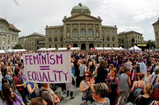Women demonstrated outside government offices in Bern