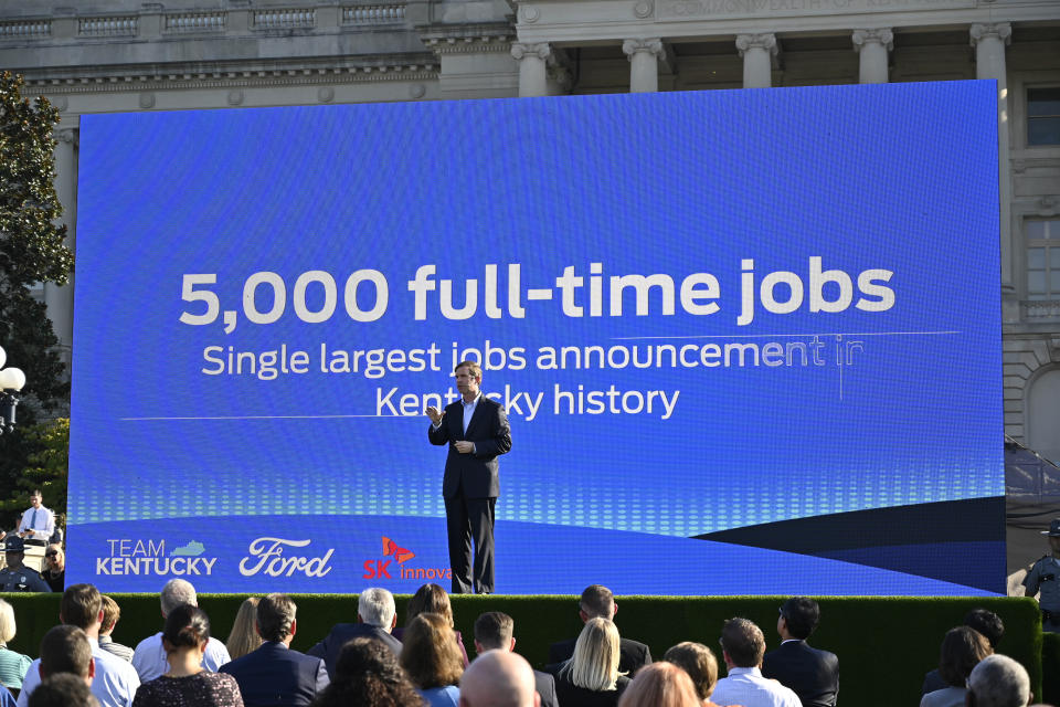 Kentucky Gov. Andy Beshear speaks during the official announcement of Ford Motor Company along with SK Innovations in building two electric battery factories in Glendale, Ky., at the Kentucky State Capitol in Frankfort, Ky., Tuesday, Sept. 28, 2021. The $5.8 billion dollar investment will provide 5000 full time jobs in the state. (AP Photo/Timothy D. Easley)