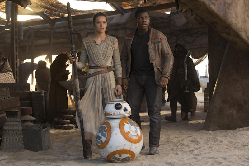 Daisy Ridley and John Boyega as Rey and Finn in 2015's <i>Star Wars: The Force Awakens</i>. (Disney)
