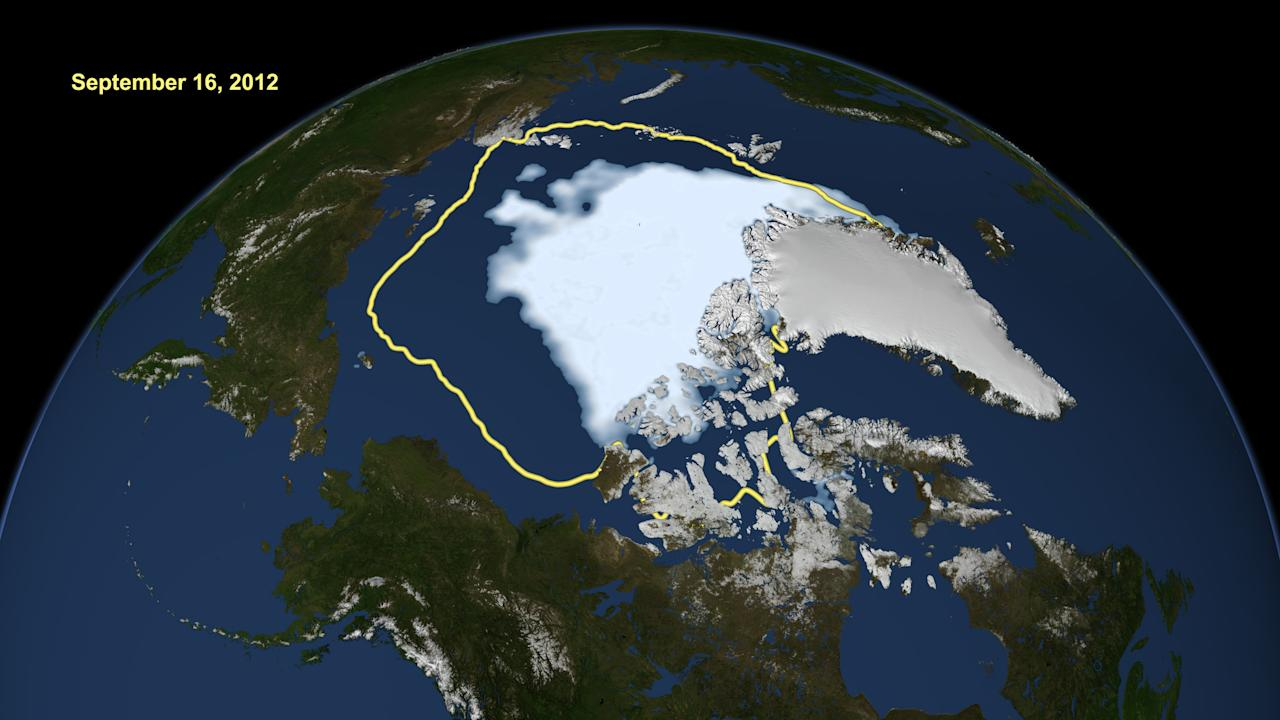 This image made available by NASA shows the amount of summer sea ice in the Arctic on Sunday, Sept. 16, 2012, at center in white, and the 1979 to 2000 average extent for the day shown, with the yellow line. Scientists say sea ice in the Arctic shrank to an all-time low of 1.32 million square miles on Sunday, Sept. 16, 2012, smashing old records for the critical climate indicator. That's 18 percent smaller than the previous record set in 2007. Records go back to 1979 based on satellite tracking. (AP Photo/U.S. National Snow and Ice Data Center)