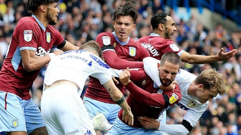 Aston Villa players fumed after Leeds took advantage of an injury to score. Pic: AAP