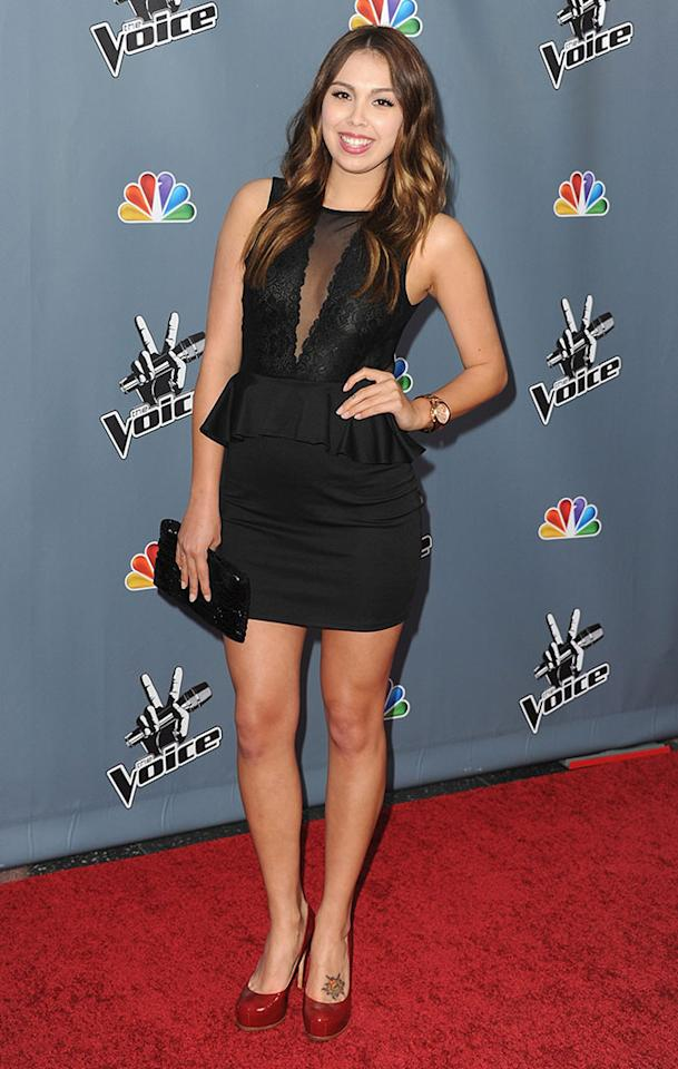 "Julia Harriman arrives at the screening of NBC's ""The Voice"" Season 4 at TCL Chinese Theatre on March 20, 2013 in Hollywood, California."