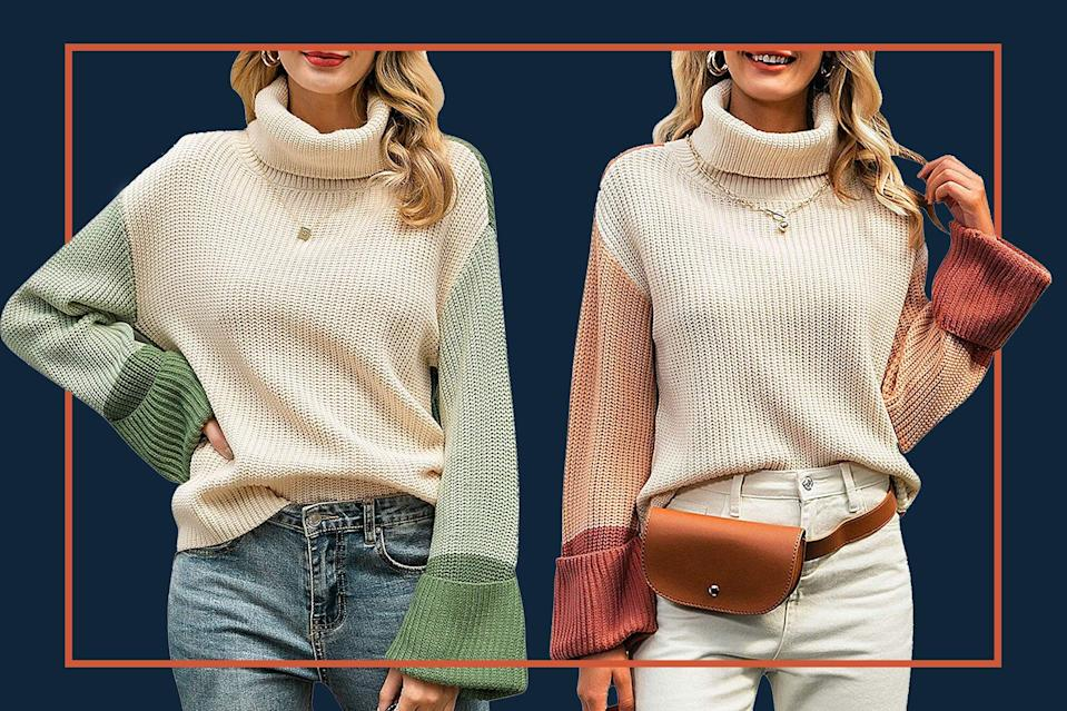 This 'Snuggly and Warm' Color-Block Turtleneck Sweater Is 25% Off for Amazon Prime Members