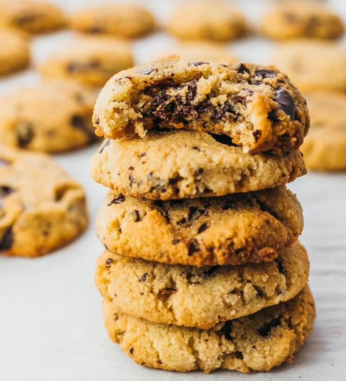 """<p>Almond flour, low-carb sweetener, and sugar-free chocolate help these deliciously gooey chocolate chip cookies stay at five grams of carbs and half a gram of sugar per serving.</p> <p><strong>Get the recipe:</strong> <a href=""""http://www.savorytooth.com/chocolate-chip-cookies/"""" class=""""link rapid-noclick-resp"""" rel=""""nofollow noopener"""" target=""""_blank"""" data-ylk=""""slk:keto chocolate chip cookies"""">keto chocolate chip cookies</a></p>"""